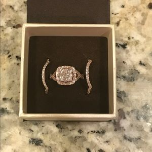 Rose gold Wedding set with two bands